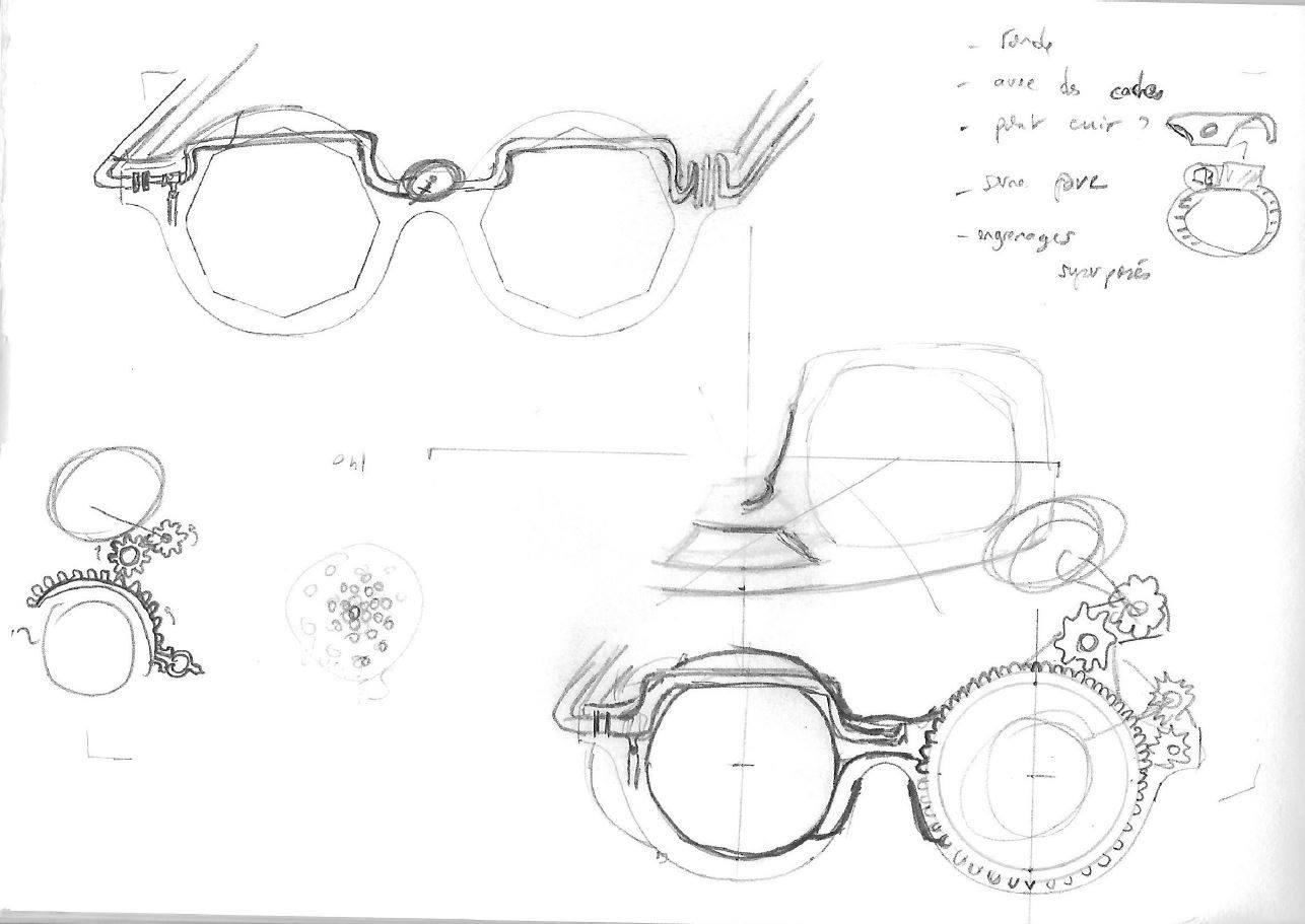 dessin de lunettes steampunk - crayon