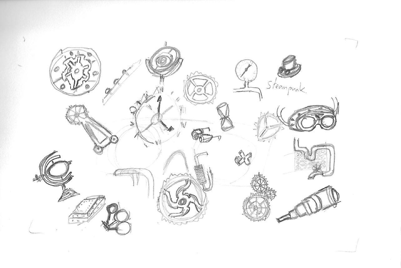 Dessin steampunk : élément pour la paire de lunettes