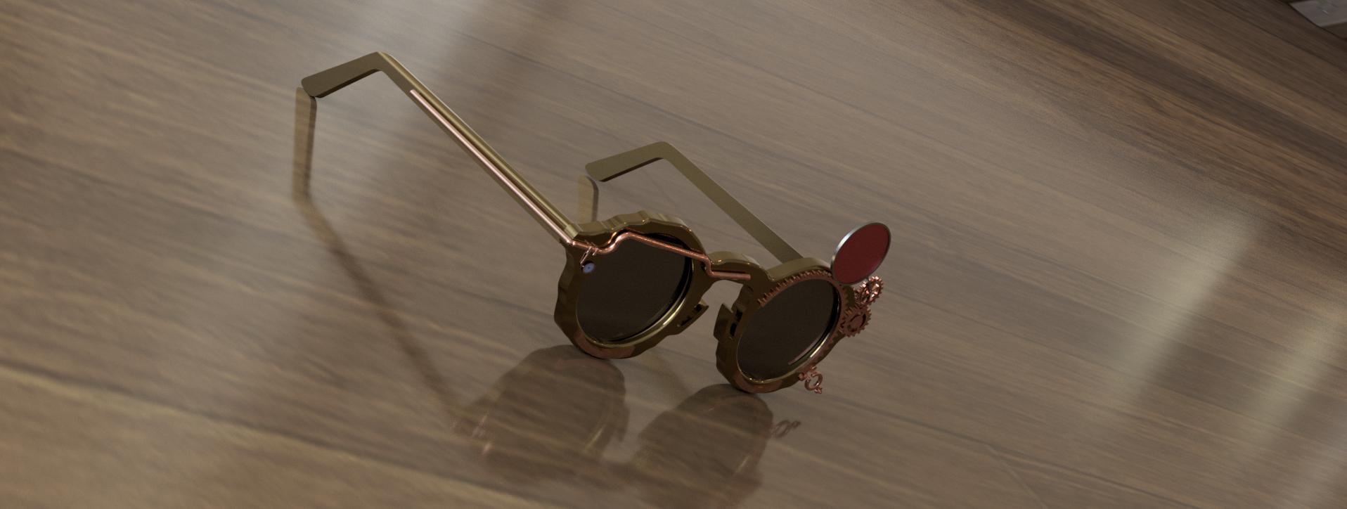 Dessin 3D des lunettes de soleil steampunk